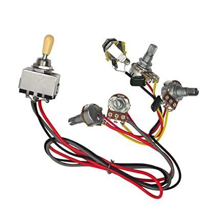 amazon com: ikn wiring curcuit with 3 way box toggle switch,2v2t b500k long  pots,output jack for lp guitar: musical instruments