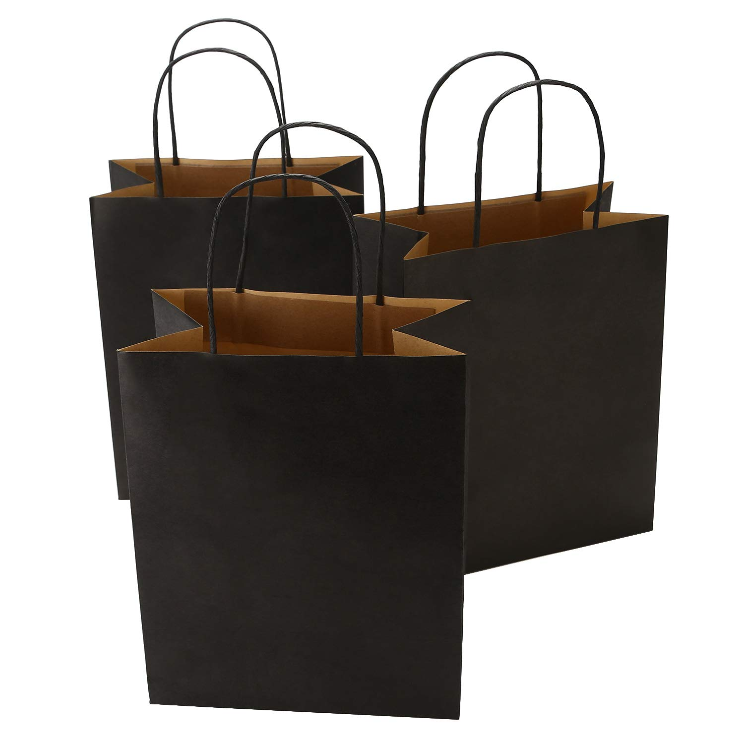 Road 8x4.75x10.5 Inches 50pcs Black Kraft Paper Bags with Handle, Shopping Bag, Merchandise Bag, Party Bag