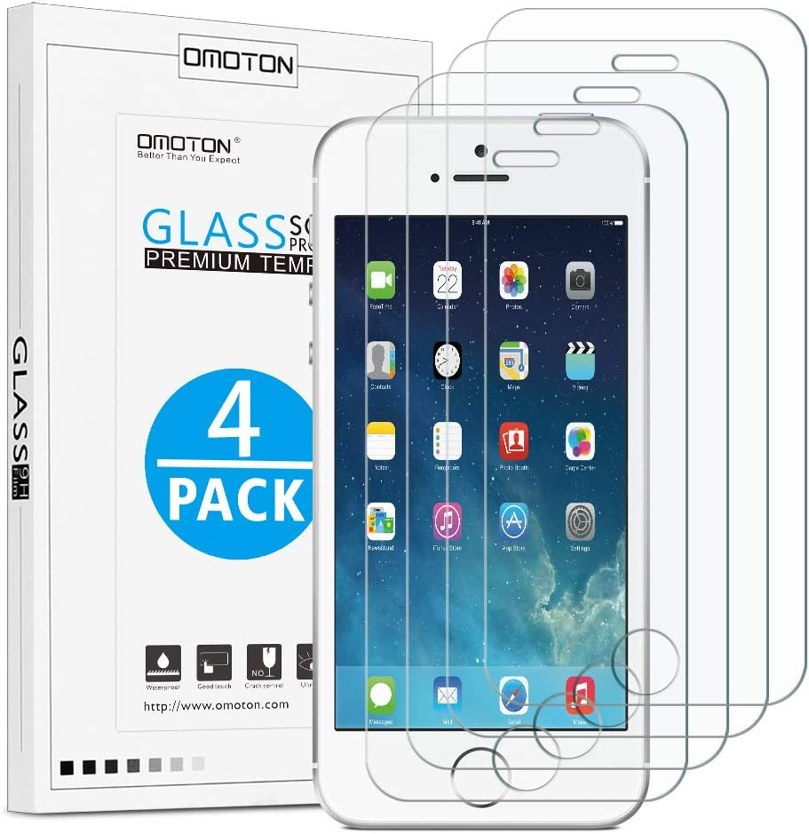 [4 Pack] OMOTON Tempered Glass Screen Protector Compatible with iPhone SE(2016)/5S/5C/5