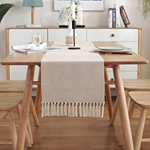 vctops Rustic Woven Table Runners with Handmade Tassels Cotton Linen Farmhouse Waffle Pattern Dining Room Dresser Decor (Beige A, 13 x 94 Inch)