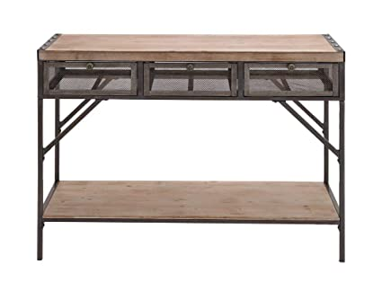 Amazoncom Wood And Metal Console Table With Mesh Screen Drawers