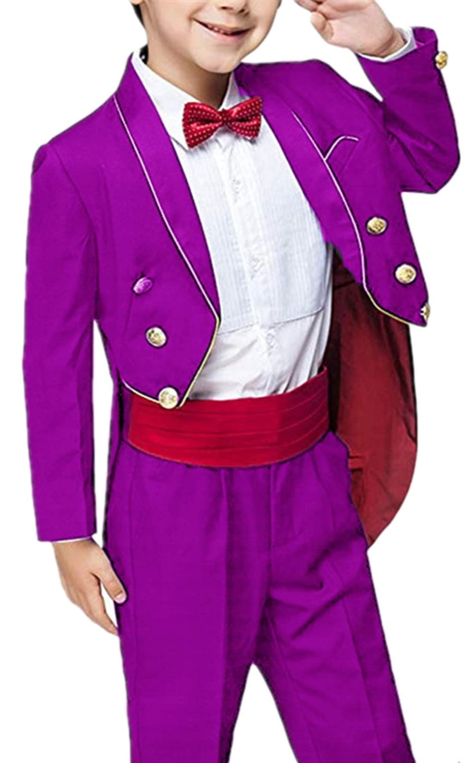 Suxiaoxi Boys Retro 2 Pieces Tailcoat Wedding Suits Shwal Lapel Dress for Party