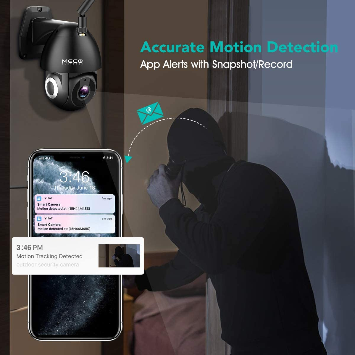 Motion Detection Works with Alexa Security Camera Outdoor Auto Tracking Night Vision MECO 1080P HD Pan//Tilt WiFi Home Surveillance Camera with Waterproof 2-Way Audio
