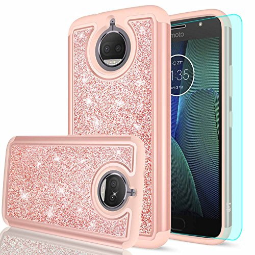 LeYi Moto G5S Plus Case,Moto G5S+ Case (USA) with HD Screen Protector, Girls Women Hybrid Soft TPU Hard PC Dual Layer Shock Absorption Protective Case for Motorola Moto G5S Plus (XT1806) TP Rose Gold