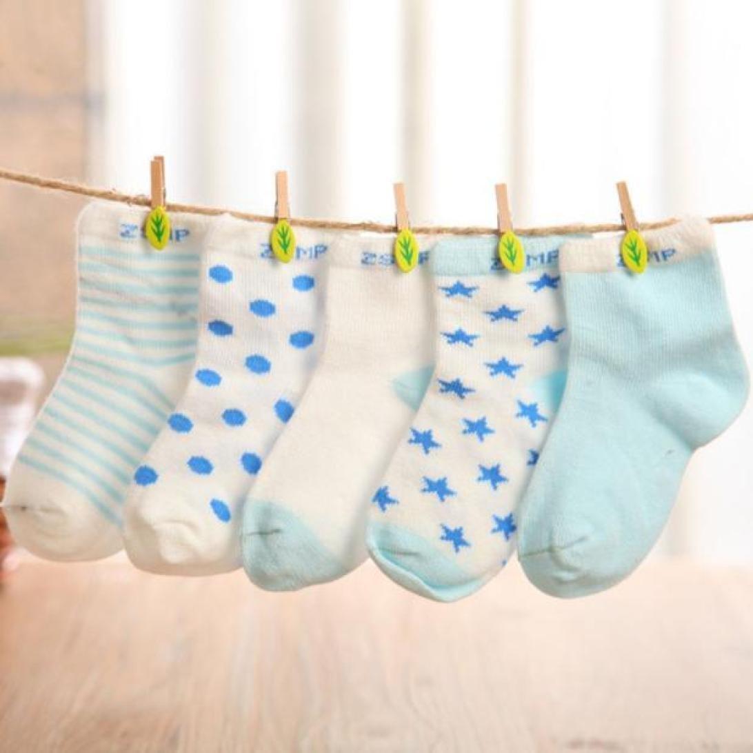 Malloom 5Pairs Cotton Baby Socks Newborn Floor Socks Kids Cotton Short Socks Girl Boy Socks