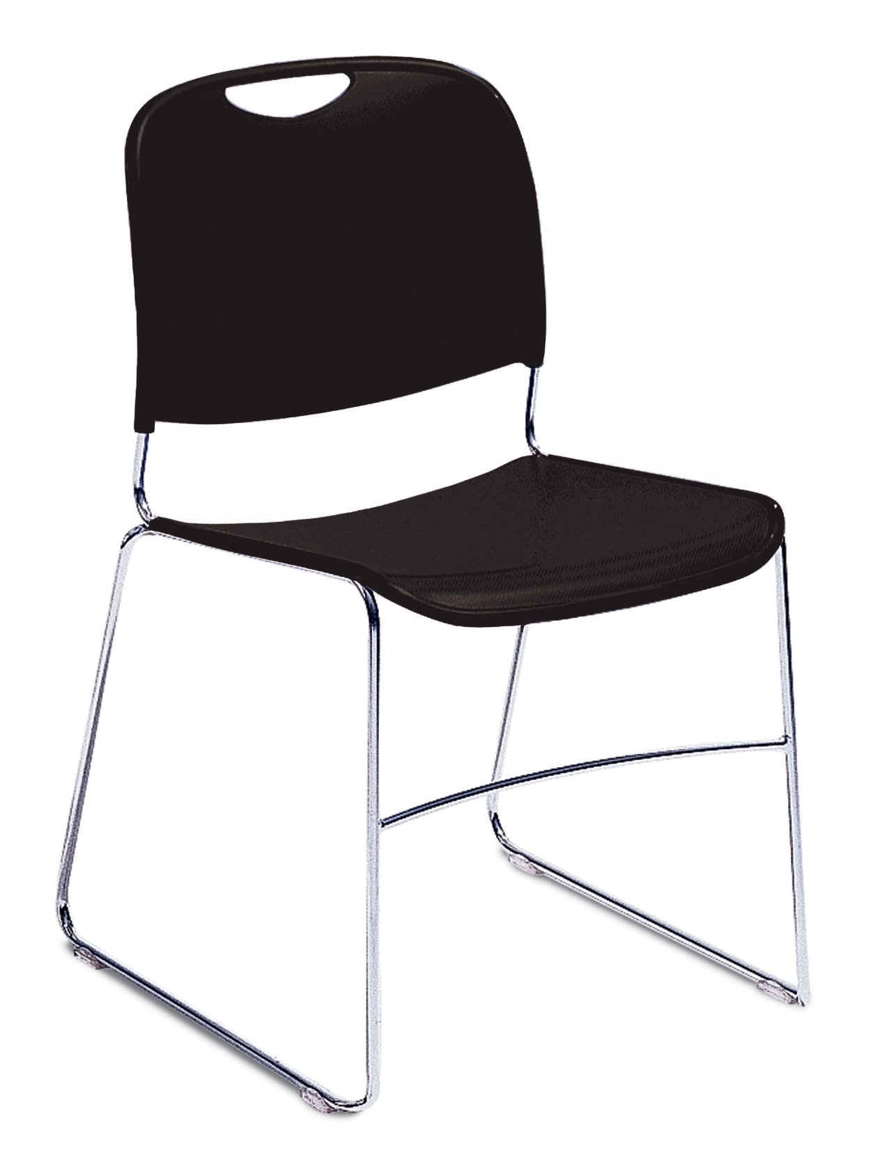 NPS 8510-CN Ultra-compact Plastic Stack Chair, 300-lb Weight Capacity, 17-1/2'' Length x 22-1/2'' Width x 31'' Height, Black (Carton of 4)