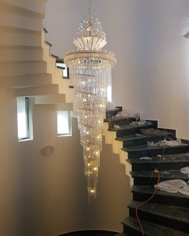 LISHUHUA Luz de Techo iluminación Europea Gigante araña Que cuelga en una Gran araña de Cristal de hoteles salón del vestíbulo escaleras Araña de Luces: Amazon.es: Hogar