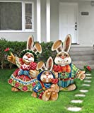 Easter Bunny Family - Set of 3 Wooden Freestanding Outdoor Lawn Decor 8154420F-S3