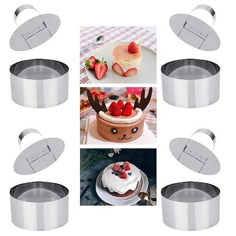 Amazon.com: DECARETA - Moldes para tartas (4 unidades, acero ...