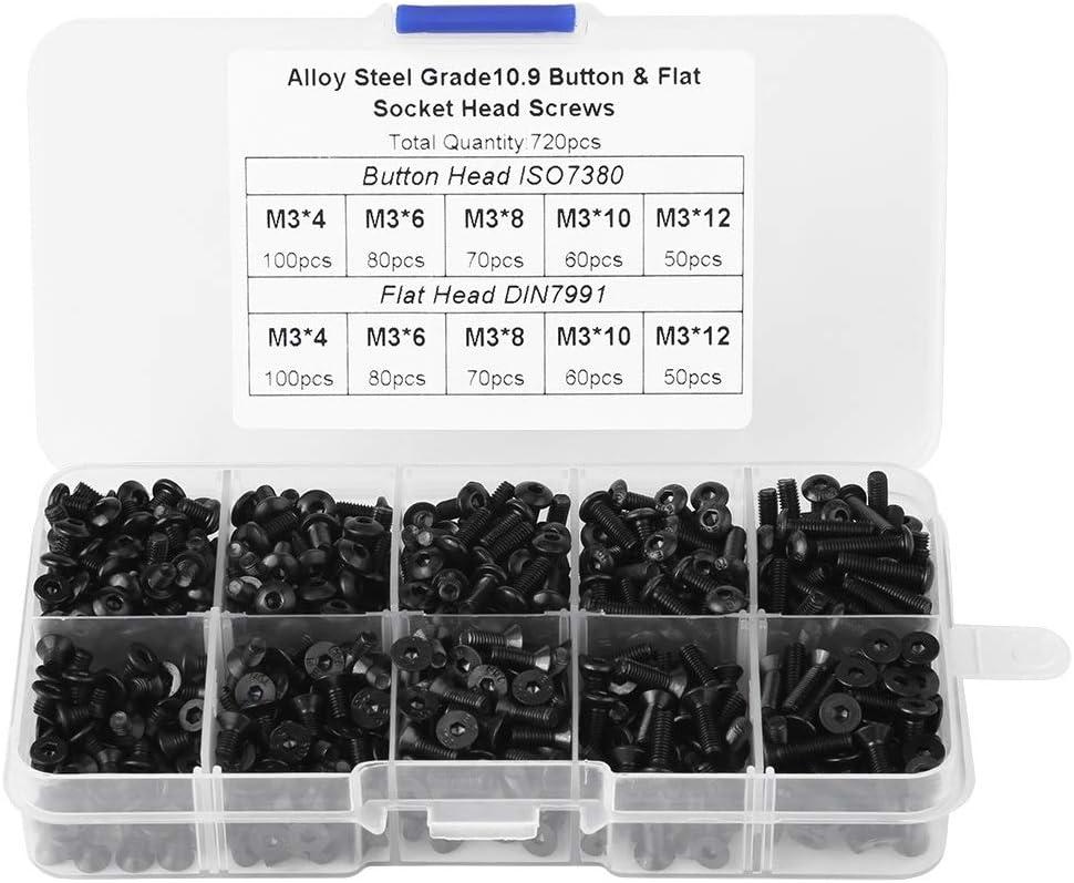 Tornillos de cabeza hueca Kit-M3 * 4/6/8/10/12 Negro aleación de acero Tornillos de cabeza plana hexagonal socket con la caja de plástico (720pcs / pack)