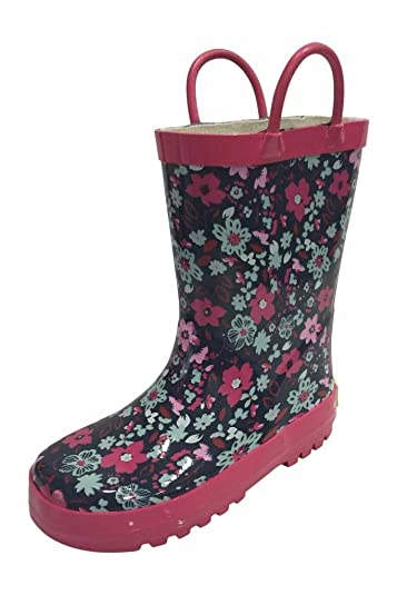 Amazon.com | SIYA Little Girls Flower Black & Pink Rain Boots w ...