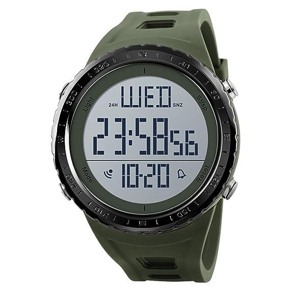 Skmei Reloj Hombre Militar Verde Grande Resistente Al Agua y Golpes Digital Deportivo Marca Reloj para Camping Hiking Natación: Amazon.es: Relojes