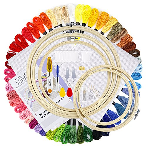 Caydo Full Range of Embroidery Starter Kit Including 5 Pieces Bamboo Embroidery Hoops, 50 Color Threads, 2 Pieces 12 by 18-Inch 14 Count Classic Reserve Aida and Cross Stitch Tool Kit (Kit Drum Instructions)