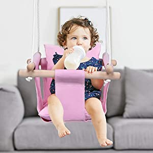 Costzon Kids Classic Swing, Baby Canvas Hanging Swing Seat, Toddler Secure Indoor & Outdoor Wooden Hammock Chair Toy with Soft Backrest Cushion and PE Rope, Tree Swing Play Set (Pink)