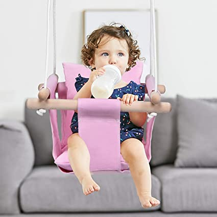Amazon Com Costzon Kids Classic Swing Baby Canvas Hanging Swing Seat Toddler Secure Indoor Outdoor Wooden Hammock Chair Toy With Soft Backrest Cushion And Pe Rope Tree Swing Play Set Pink Toys