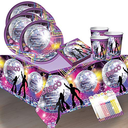 Disco Fever 70s Party Supplies Pack Serves 16: Dinner Plates, Luncheon Napkins Cups and Table Cover with Birthday Candles (Bundle for 16)