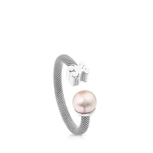 40394cbc4bb6 Anillo TOUS Mesh de plata de primera ley con perla de 0