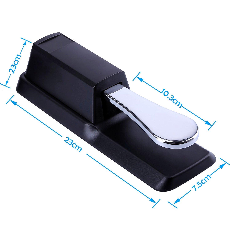 Wingo electrónico Pedal de sostenido universal para Yamaha/Casio/Roland /M-Audio/Korg Midi teclados, sintetizadores y Piano Digital con interruptor de ...