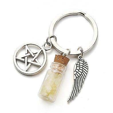 Amazon.com: kakupao pentagrama botella de vidrio, llavero ...