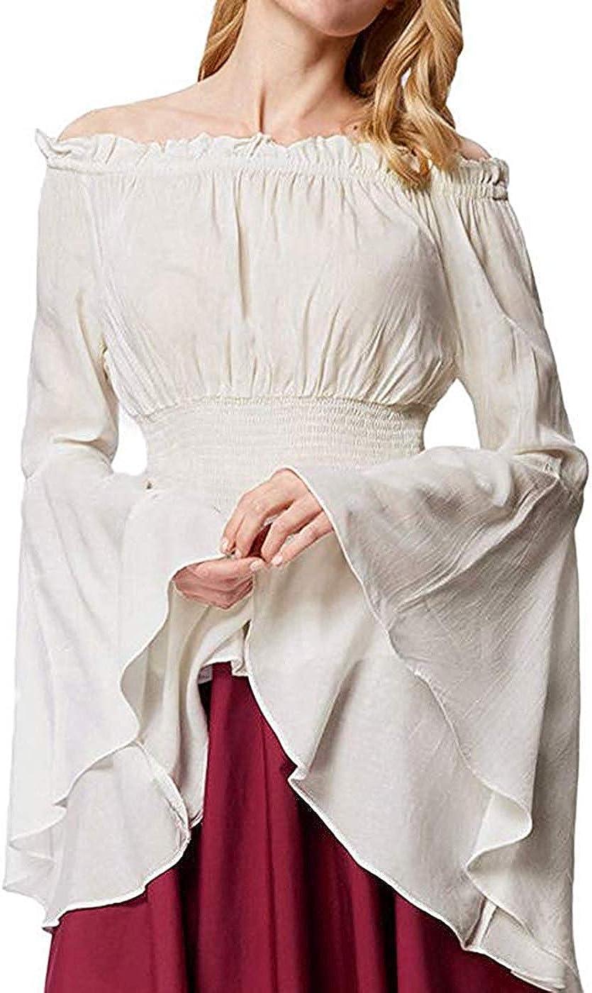 Dcola Blusa De Mujer Renaissance Camisa De Mujer Medieval Victoriana con Mangas De Trompeta Fuera del Hombro, Parte Superior De Cintura Elástica De Manga Larga.: Amazon.es: Ropa y accesorios