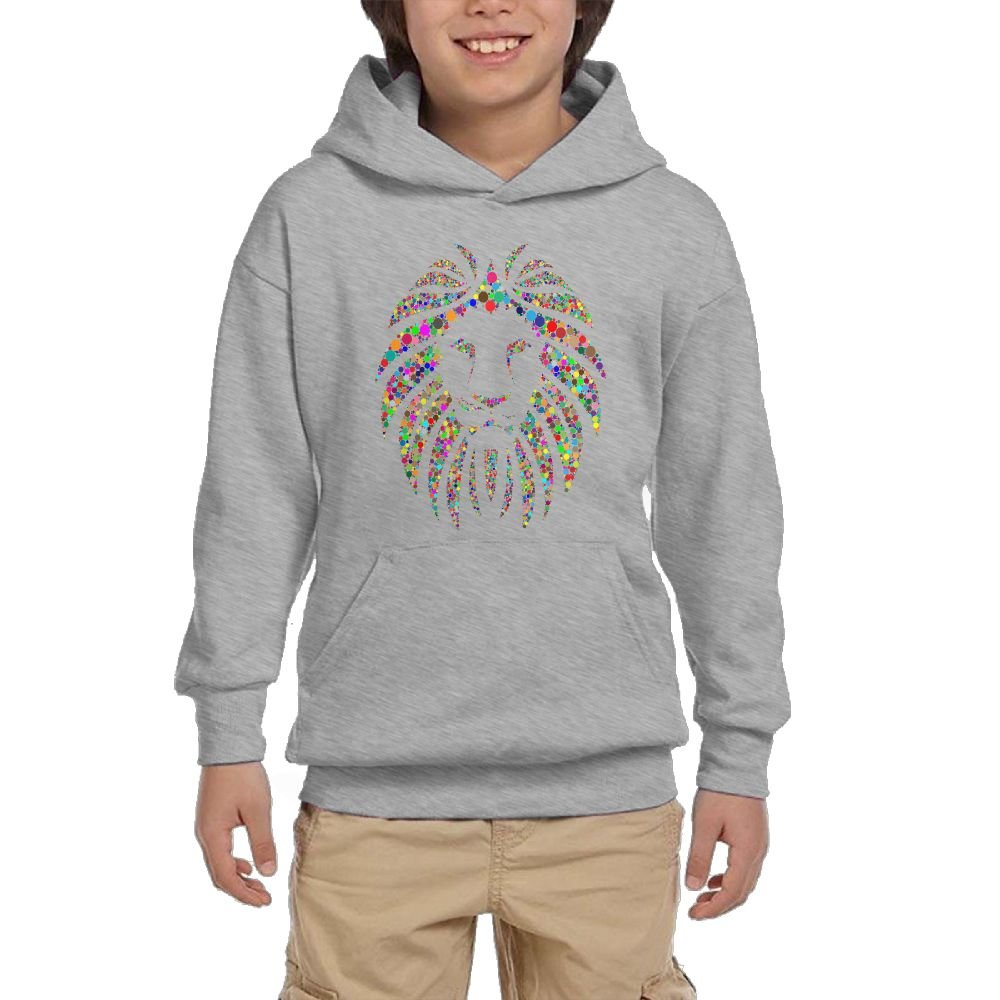 GLSEY lion's Face colorful Pattern Youth Soft Pullovers Hooded Sweatshirts Long Sleeve