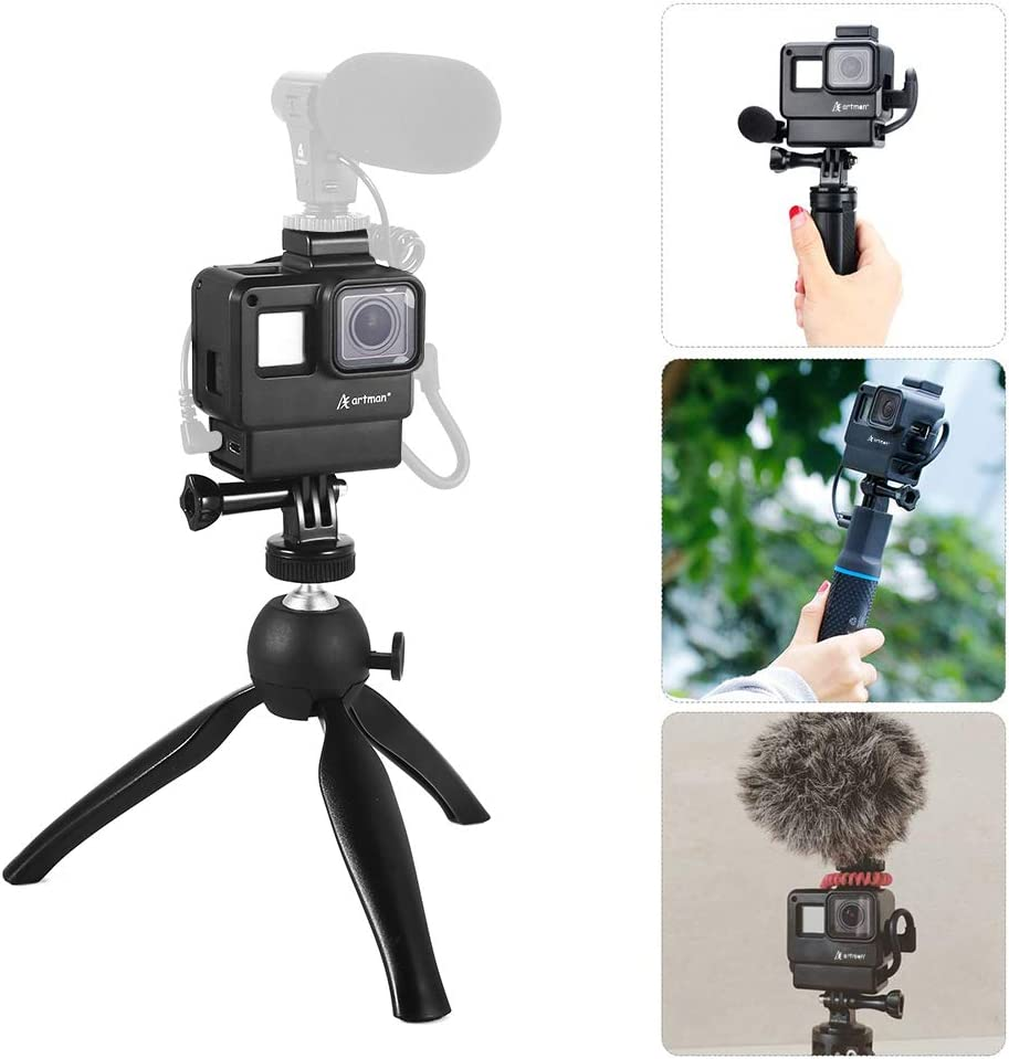 Without Mic Mini Tripod Kit Vlogging Setup with Microphone Cold Shoe Mount Compatible with GoPro Hero 7//6//5 Black Artman Vlogging Setup Kit Compatible with GoPro-Vlogging Housing Case Frame
