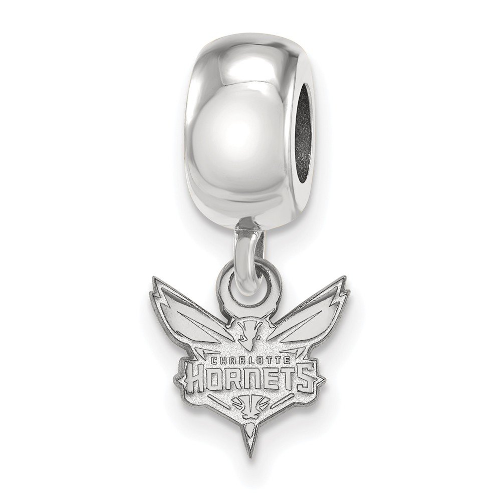 Roy Rose Jewelry Sterling Silver NBA LogoArt Charlotte Hornets X-small Dangle Bead Charm