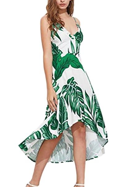 Vestidos De Fiesta Mujer Elegante Verano La Rodilla Hojas Verdes Impresión Vestido Playa Boho Sin Mangas