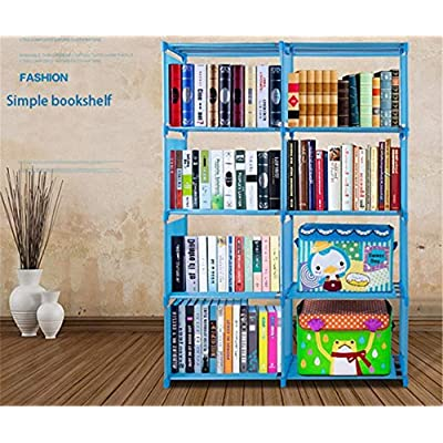 4 Tier 8 Bookshelf Office Home Furniture Organizer Storage Cabinet Bookcase (Blue): Kitchen & Dining