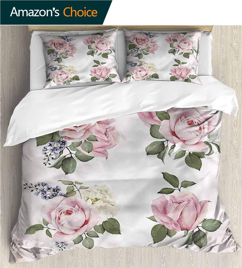carmaxs-home Full/Queen Size Quilt Bedding Set,Box Stitched,Soft,Breathable,Hypoallergenic,Fade Resistant Kids Bedding -Double Brushed Microfiber -Rose Springtime Set of Bouquets (87'' W x 95'' L)