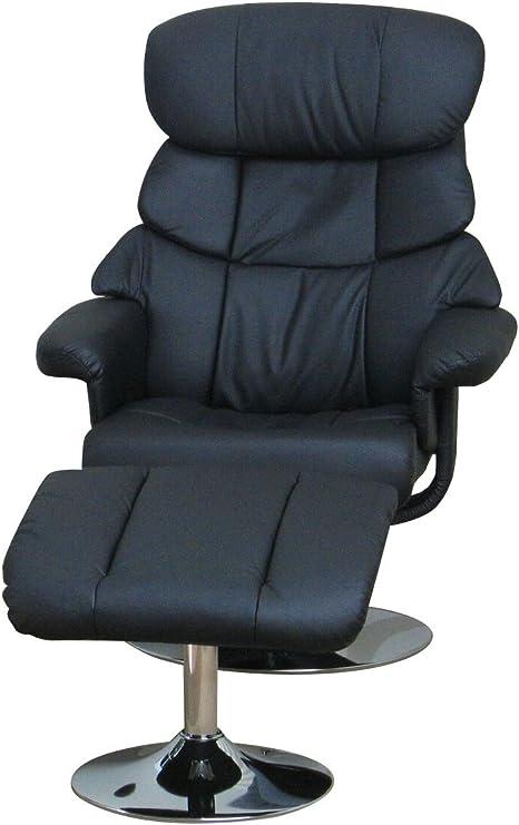 Fernsehsessel mit Hocker TV Sessel drehbar kippbar Relaxsessel Holzfuß schwarz