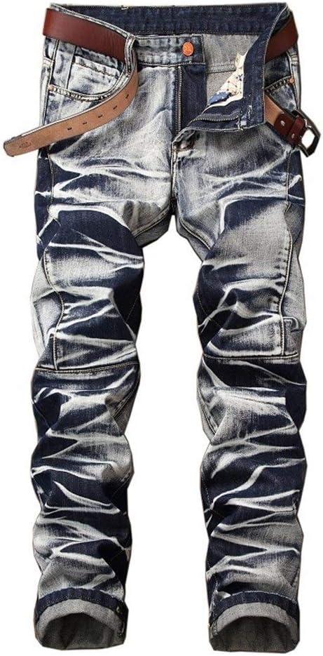 メンズジップワイドパンツ ジーンズのズボンは、古いストレートの男性レトロを行います エフェクトライトウォッシュ (Color : Blue White, Size : 36)