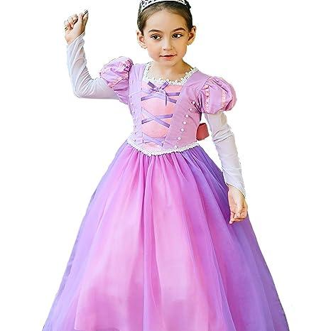 yeesn Disfraz de la Princesa Rapunzel para niña Manga Larga Vestido de Manga Cosplay Fiesta de cumpleaños de Halloween Vestido Vestido (120cm)