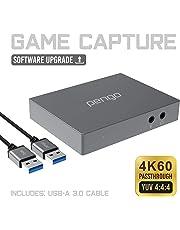 pengo HDMI Grabber Pass-Through en 4K,Capture de Jeu, Carte d'Acquisition, Carte de Capture, 1080P à 60fps, Enregistreur pour Mac, PC, PS4, Switch,Streaming sur Twitch, Youtube, Latence Faible