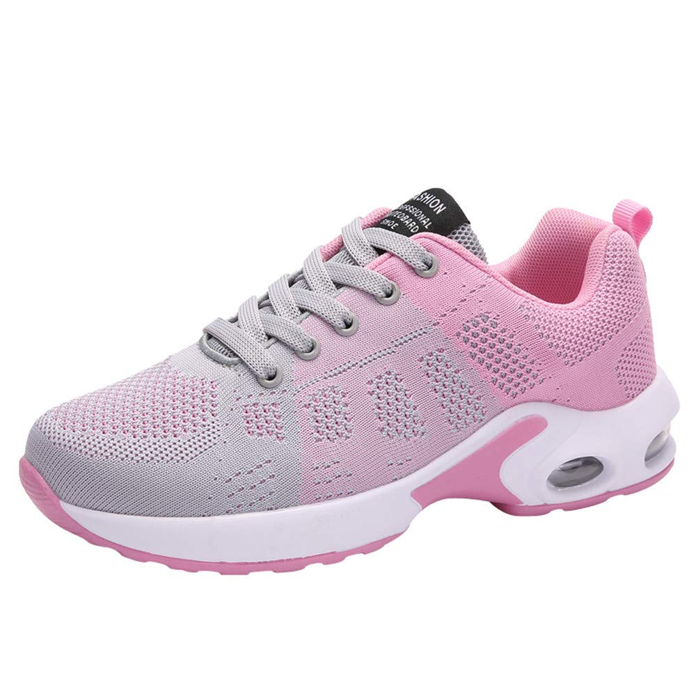 Kauneus Women's Running Shoes Lightweight Air Cushion Sneakers Breathable Walking Shoes Pink by Kauneus Fashion Shoes