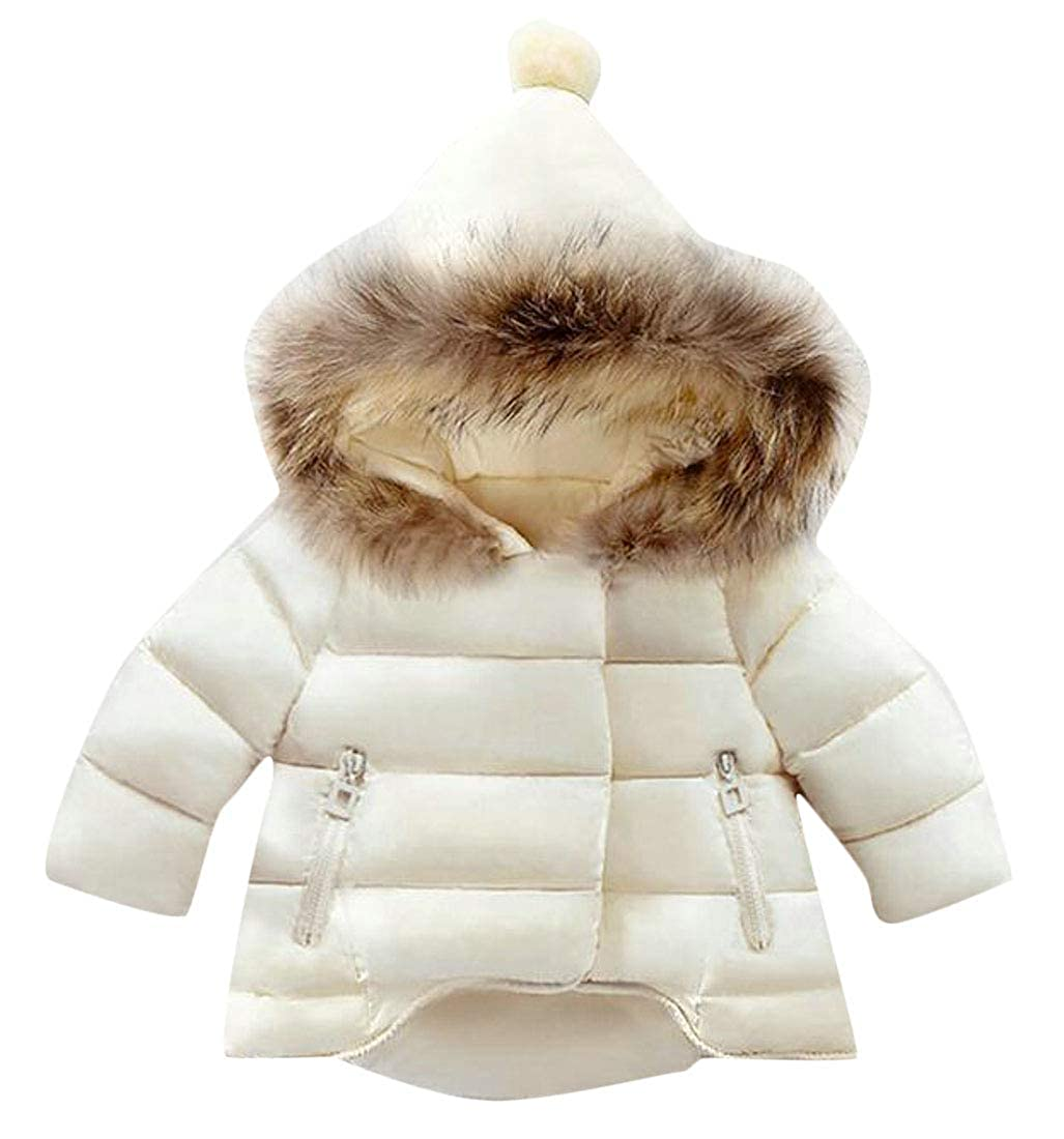 XiaoTianXinChildrenscostumes XTX Girls Lovely Faux Fur Hooded Thick Cotton Padded Hi-Low Parkas Coat