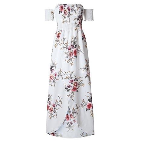 RYCJ-Vestido De Gasa Vestido Sujetador Irregular Palabra Hombro Damas Vestido Blanco 2Xl
