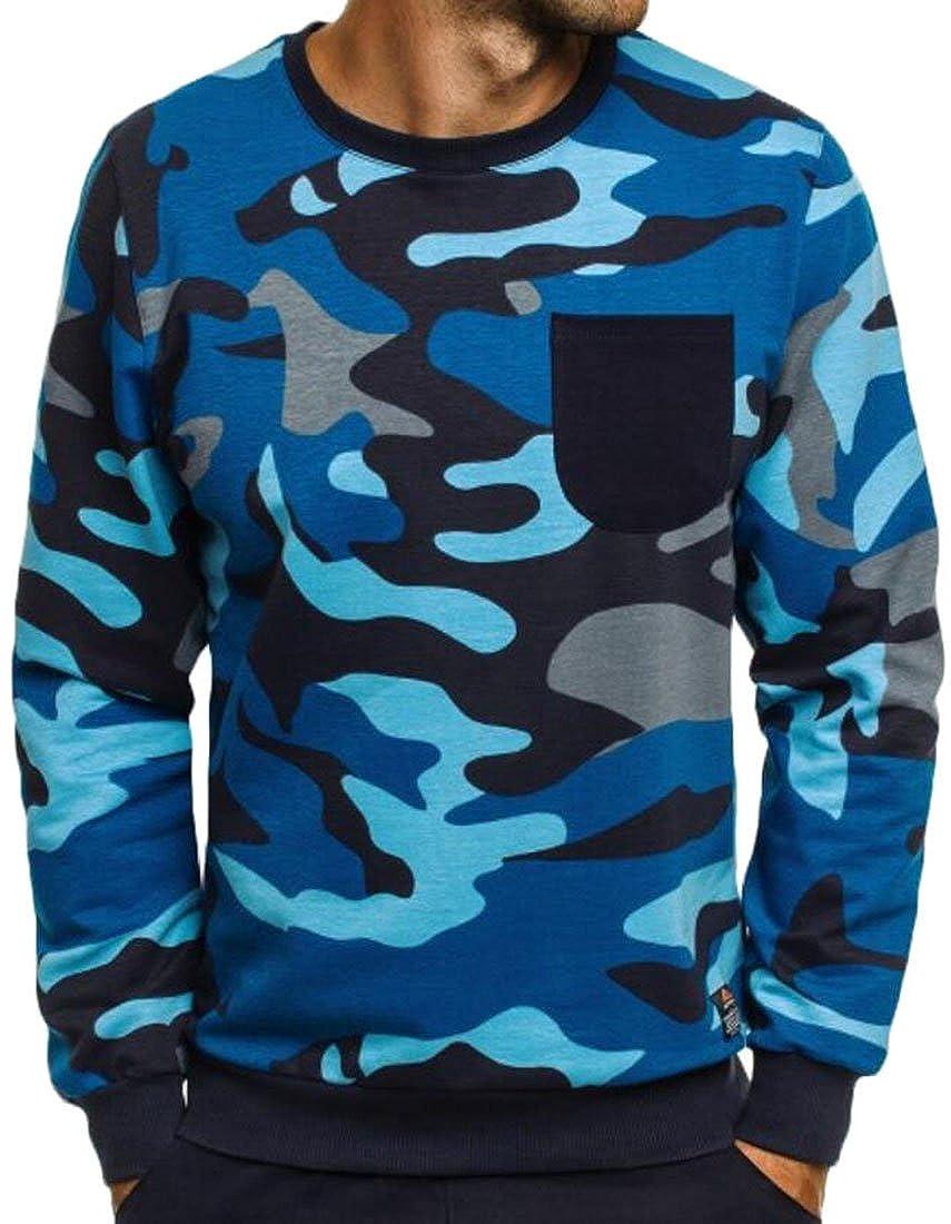 Nanquan Men Slim Fit Camouflage Printed Sweatshirt Long-Sleeve Crew-Neck Top