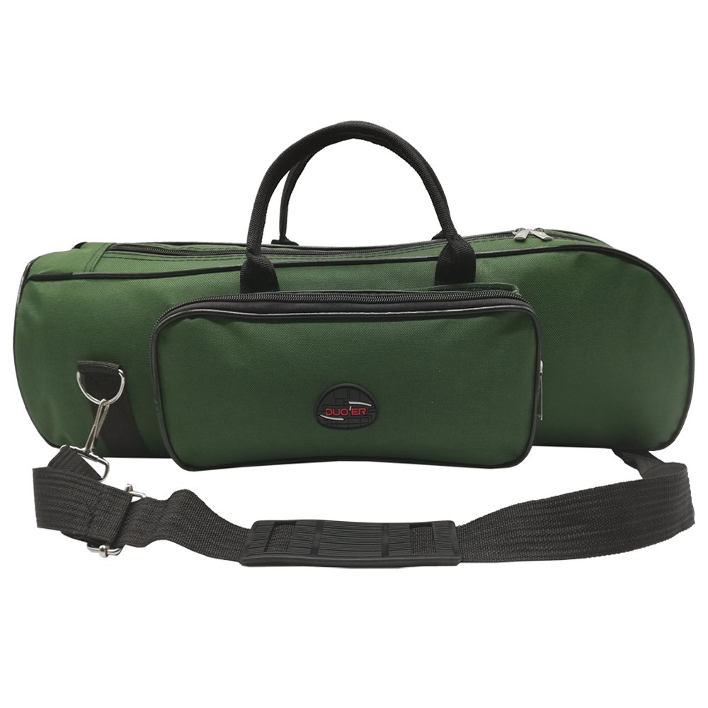 Xinlinke Soft Trumpet Case Padded Carrying Gig Bag with Single Shoulder Strap Green