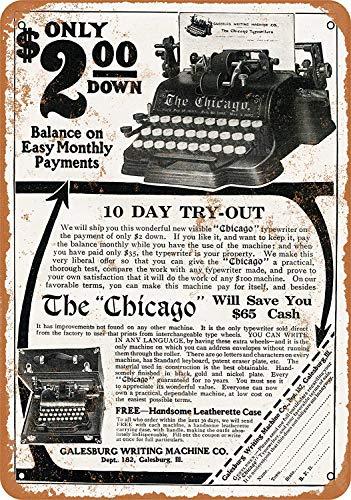 Unoopler Vintage Look Metal Sign 8 x 12-1917 Galesburg Chicago Typewriter