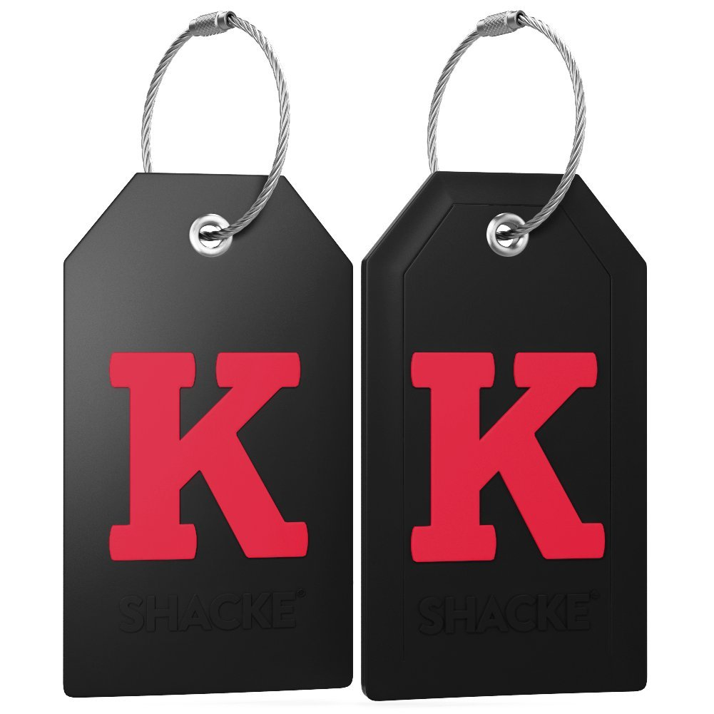 Initial Luggage Tag with Full Privacy Cover and Stainless Steel Loop (Black) (K) by Shacke (Image #3)