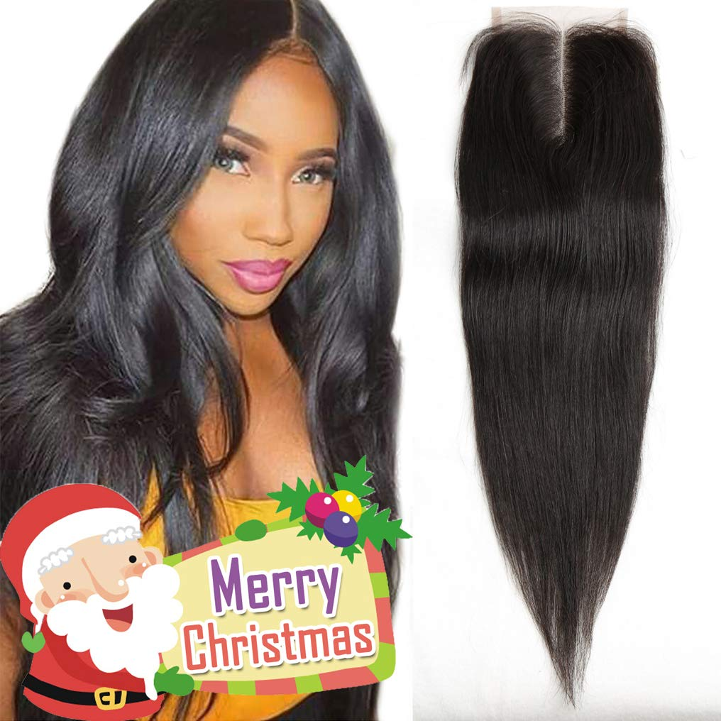 12 Inch Middle Part Lace Closure Straight 4X4 130% Density Top 8A Grade Unprocessed Brazilian Virgin Remy Human Hair Lace Front Closure No Bleached Knots Closure Pieces