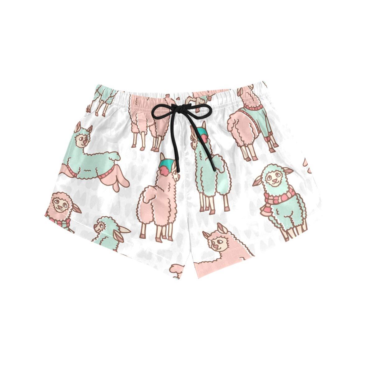 FORMRS Womens Swim Colors Cartoon Alpaca Board Shorts Bottom Beach Short Trunk Swimwear with Drawstring