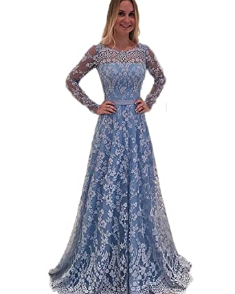 Wdress Elegant A Ling Long Evening Dress Women Long Sleeves Formal Prom Dress Plus Size