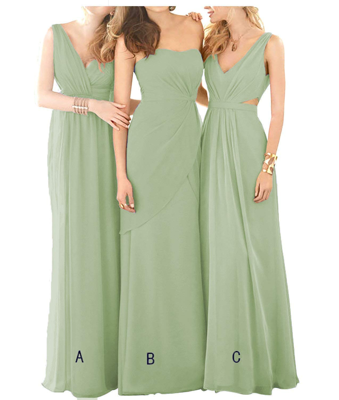 Chiffon Dressing Gown: Dusty Sage Bridesmaid Dresses V-Neck Long Chiffon Formal