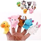 Hommy 親子 安心 布製 指人形 10匹セット 動物 ごっこ遊び 10pcsベルベット動物 想像力を育てる パペット (カラー)