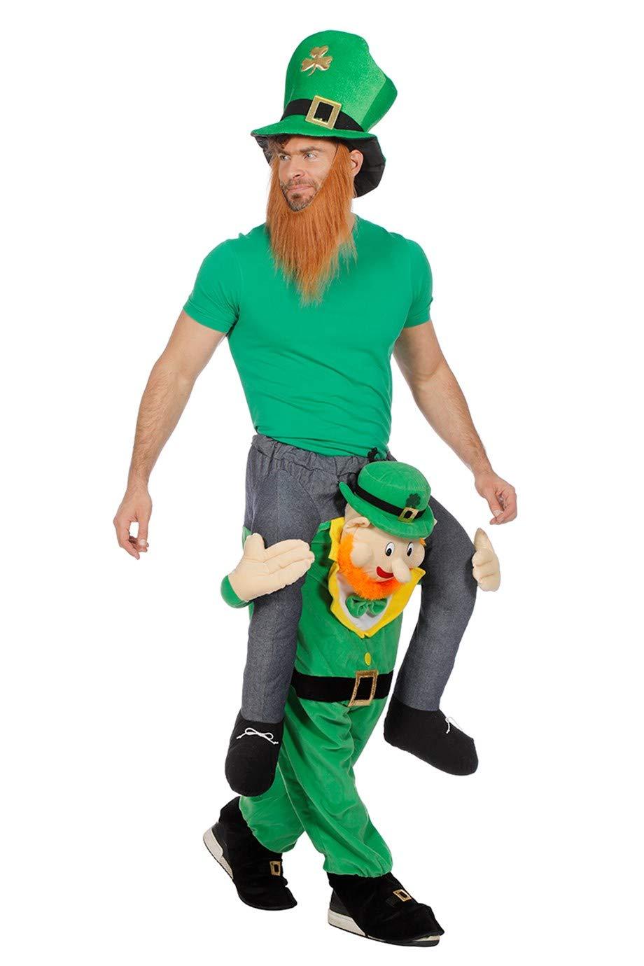W99812-54 grün Damen Herren Mann auf St.Patrick Day Gnom Carry ME Huckepack trag Mich Kostüm Gr.54