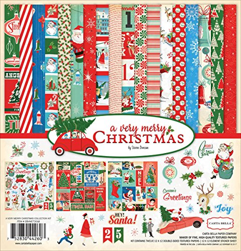 Carta Bella Paper Company a Very Merry Christmas Collection Kit Paper Craft Cards Christmas