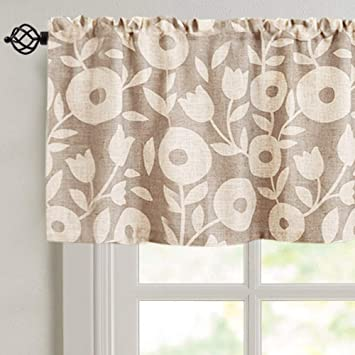 Curtain Valances For Windows 15 Inch Length Floral Printed Valance For Kitchen Window Linen Textured Rustic Valance Curtains 1 Panel Taupe And White