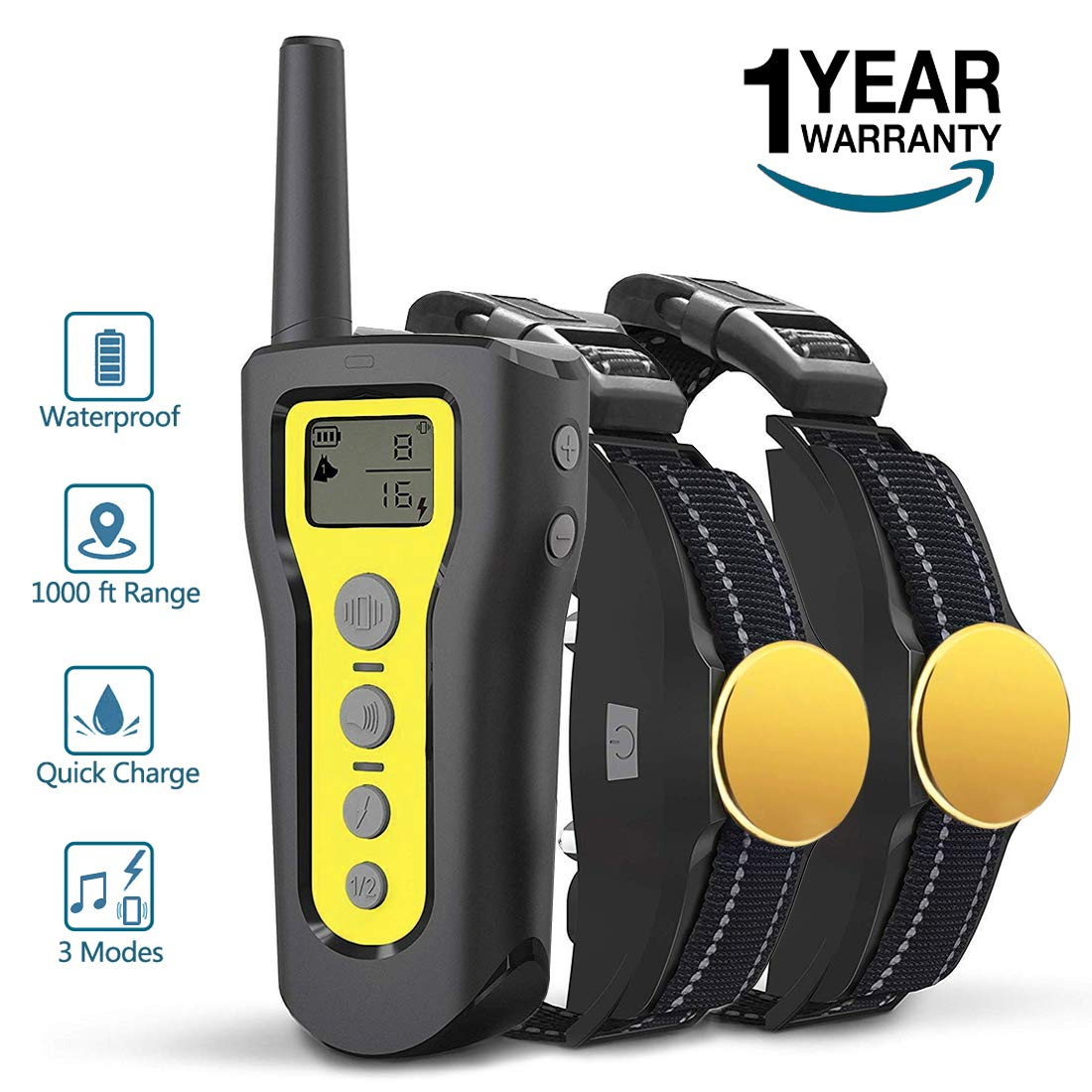 2 Collar AngelaKerry Dog Training Collar, 1000ft Remote Dog Shock Collar, 100% Waterproof and Rechargeable with Beep Vibra Electric Shock (Yellow, 2 Collars)